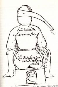 Qui merdam seminat merdam metit (da Geber, Liber Florum, manoscritto del XVI secolo)