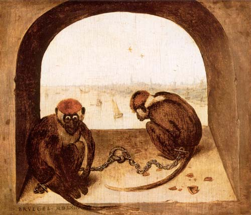 Pieter Brugel il Vecchio, Due scimmie (1562 circa)