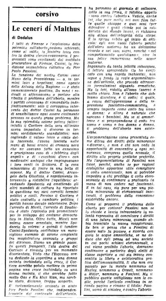 """L'articolo di Umberto Eco firmato """"Dedalus"""""""