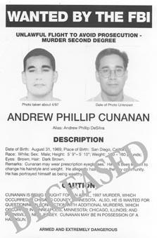 Andrew Phillip Cunanan ricercato (FBI)