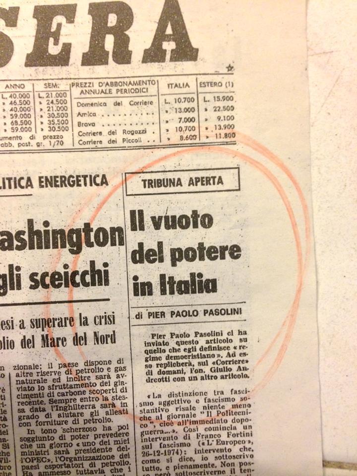 """""""Pasolini, Il vuoto di potere"""""""