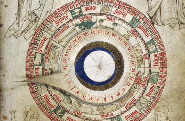 """ircular zodiacal lunar chart, Egerton 2572, f.51, British Library"""