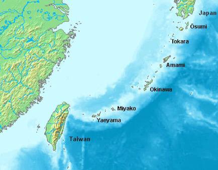 """mappa delle isole Ryukyu"""